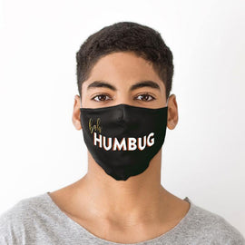 Bah Humbug Black Christmas Face Covering - Large - The Marvellous Market Stall