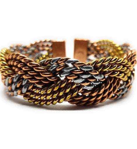 Magnetic Brass/Copper/Aluminium Braided -'Woven' Design Bracelet - The Marvellous Market Stall