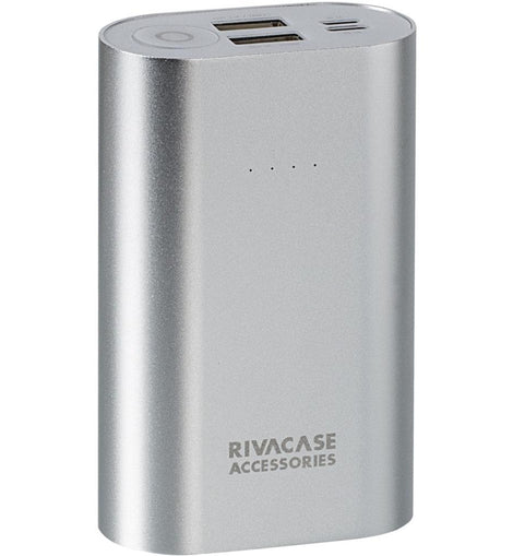 RIVACASE RivaPower Li-ion Aluminium Body Portable Rechargeable Battery, 10000mAh, Silver (VA1010) - The Marvellous Market Stall