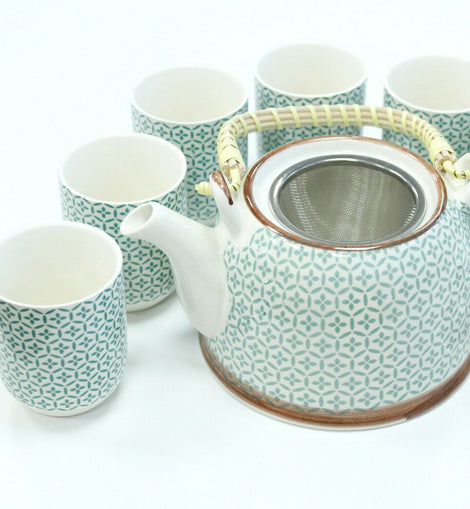 Herbal Tea Pot Set Tea Party Lunch Dinner Cafe Gift - Green Mosaic - The Marvellous Market Stall