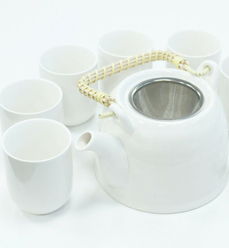 Herbal Teapot Set Tea Party Lunch Dinner Cafe Gift - Classic White - The Marvellous Market Stall