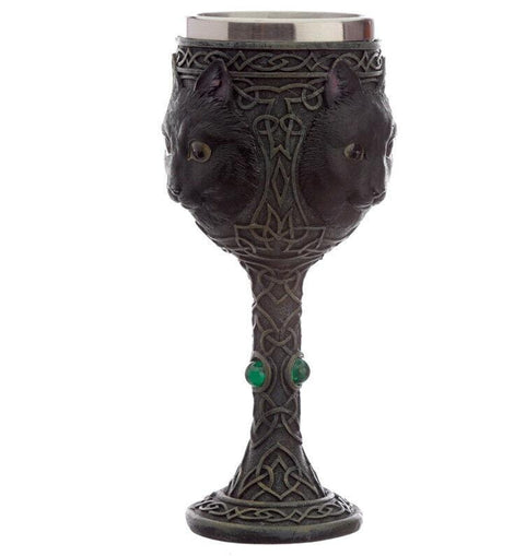 Decorative Fantasy Celtic Feline Black Cat Goblet History Gift - The Marvellous Market Stall
