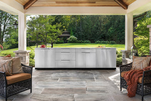 Outdoor Kitchen Stainless Steel 5 Piece Cabinet Set