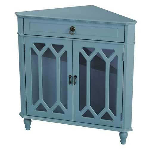 1-Drawer, 2-Door Corner Cabinet W/Hexagonal Glass Inserts - Mdf, Wood Clear Glass In Turquoise