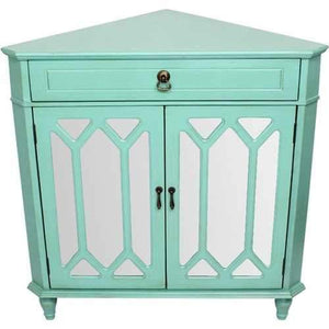 1-Drawer, 2-Door Corner Cabinet W/Hexagonal Mirror Inserts - Mdf, Wood Mirrored Glass In Turquoise