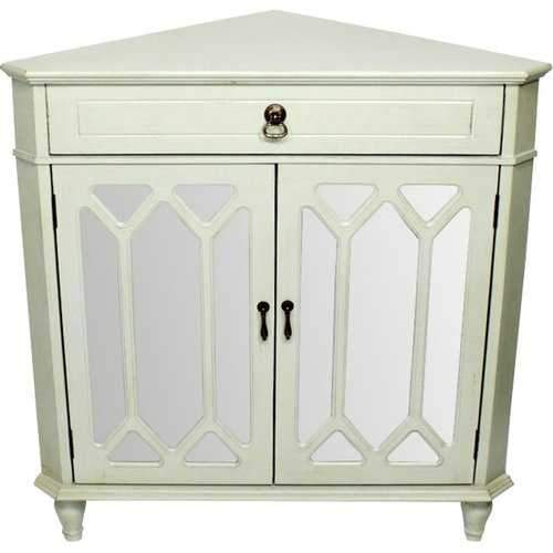 1-Drawer, 2-Door Corner Cabinet W/Hexagonal Mirror Inserts - Mdf, Wood Mirrored Glass In Light Sage
