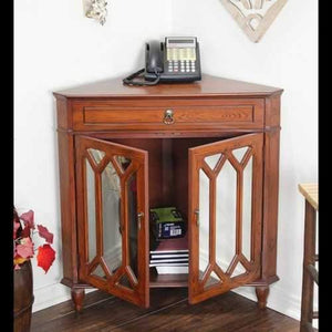 1-Drawer, 2-Door Corner Cabinet W/Hexagonal Mirror Inserts - Mdf, Wood Mirrored Glass In Mahogany Veneer