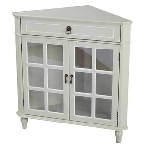 1-Drawer, 2-Door Corner Cabinet W/Paned Glass Inserts - Mdf, Wood Clear Glass In Beige