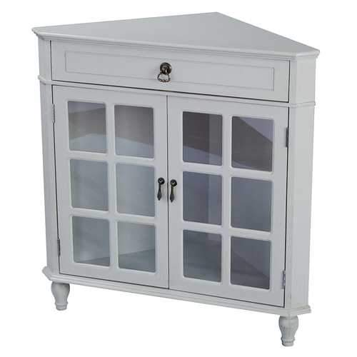 1-Drawer, 2-Door Corner Cabinet W/Paned Glass Inserts - Mdf, Wood Clear Glass In Light Sage