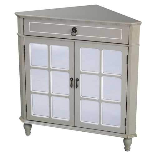 1-Drawer, 2-Door Corner Cabinet W/Paned Mirror Inserts - Mdf, Wood Mirrored Glass In Taupe