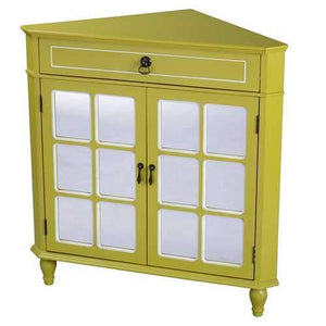 1-Drawer, 2-Door Corner Cabinet W/Paned Mirror Inserts - Mdf, Wood Mirrored Glass In Yellow