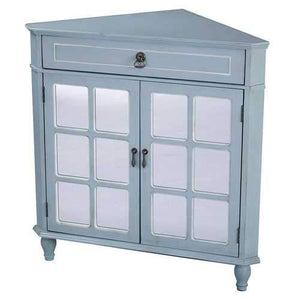 1-Drawer, 2-Door Corner Cabinet W/Paned Mirror Inserts - Mdf, Wood Mirrored Glass In Light Blue