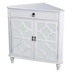 1-Drawer, 2-Door Corner Cabinet W/Quatrefoil Mirror Inserts - Mdf, Wood Mirrored Glass In Antique White