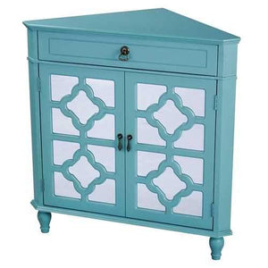1-Drawer, 2-Door Corner Cabinet W/Quatrefoil Mirror Inserts - Mdf, Wood Mirrored Glass In Turquoise