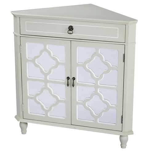1-Drawer, 2-Door Corner Cabinet W/Quatrefoil Mirror Inserts - Mdf, Wood Mirrored Glass In Beige