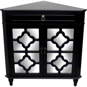 1-Drawer, 2-Door Corner Cabinet W/Quatrefoil Mirror Inserts - Mdf, Wood Mirrored Glass In Black