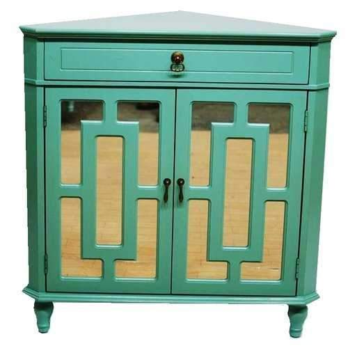 1-Drawer, 2-Door Corner Cabinet W/ Lattice Mirror Inserts - Mdf, Wood Mirrored Glass In Turquoise