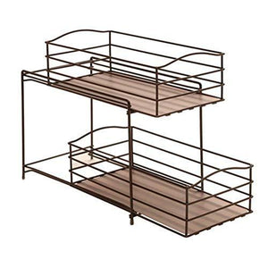 Discover seville classics 2 tier sliding basket drawer kitchen counter and cabinet organizer bronze