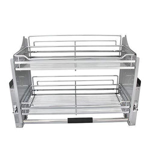 Storage kitchen pull down 2 tier wire shelf shelves steel wall unit storage organizer system cabinet for 800mm width cupboards