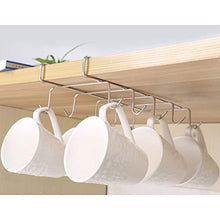 Load image into Gallery viewer, On amazon wellobox coffee mug holder under cabinet cup hanger rack stainless steel hooks cup rack under shelf for bar kitchen storage fit for the cabinet