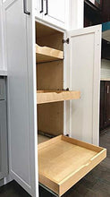 Load image into Gallery viewer, Results elysian roll wood tray drawer boxes kitchen organizers cabinet slide out shelves pull out shelf include 2 pack full extension side sliders 2 rear mounting brackets pot 6 30w x 21d