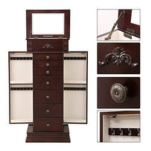 Load image into Gallery viewer, Related songmics large jewelry armoire cabinet standing storage chest neckalce organizer dark walnut ujjc14k