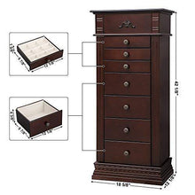 Load image into Gallery viewer, Purchase songmics large jewelry armoire cabinet standing storage chest neckalce organizer dark walnut ujjc14k