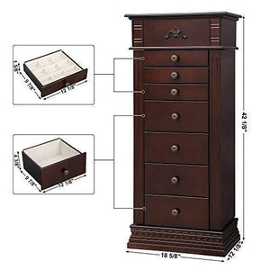 Purchase songmics large jewelry armoire cabinet standing storage chest neckalce organizer dark walnut ujjc14k