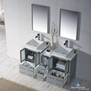 Top rated blossom sydney 60 inches double vessel sink bathroom vanity side cabinet vessel ceramic sink with mirror solid wood metal grey 001 60 15d 1616v