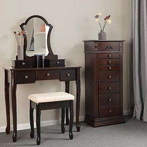 Select nice songmics large jewelry armoire cabinet standing storage chest neckalce organizer dark walnut ujjc14k