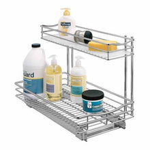 Load image into Gallery viewer, Budget friendly lynk professional professional sink cabinet organizer with pull out out two tier sliding shelf 11 5w x 21d x 14h inch chrome