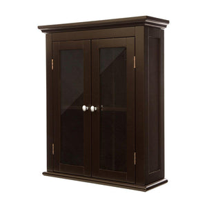 Discover glitzhome wooden furniture wall storage accent cabinet with double glass doors for bathroom bedroom kitchen living room espresso