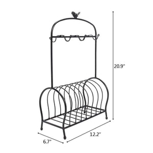 Buy festnight metal kitchen dish coffee mug cup holder with 6 hooks bird cage shape meal tray holder display rack organizer stand for table counter cabinet 20 9 x 12 2 x 6 7 l x w x h black