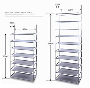 Get civilys 10 tier shoe tower rack with cover 27 pair space saving closet shoe storage boot organizer cabinet us stock black