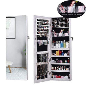 Heavy duty aoou jewelry organizer jewelry cabinet full screen display view larger mirror full length mirror large capacity dressing mirror makeup jewelry armoire jewelry mirror full length mirror white