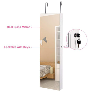 Order now giantex wall door jewelry armoire cabinet with mirror 2 led lights auto on large storage wide mirrored 1 scarf rod 36 hooks 1 makeup pouch organizer for bedroom jewelry amoires w 2 drawers white
