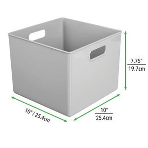 Try mdesign plastic home storage organizer bin for cube furniture shelving in office entryway closet cabinet bedroom laundry room nursery kids toy room 10 x 10 x 8 4 pack gray