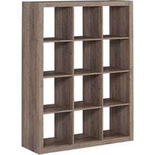 Load image into Gallery viewer, Explore better homes and gardens bookshelf square storage cabinet 4 cube organizer weathered white 4 cube rustic gray 12 cube