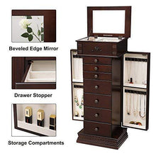 Load image into Gallery viewer, Results songmics large jewelry armoire cabinet standing storage chest neckalce organizer dark walnut ujjc14k