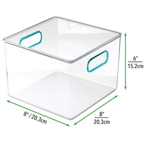 Buy now mdesign plastic food storage container bin with handles for kitchen pantry cabinet fridge freezer cube organizer for snacks produce vegetables pasta bpa free food safe 8 pack clear blue