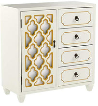 Load image into Gallery viewer, Related heather ann creations 4 drawer wooden accent chest and cabinet multi clover pattern grille with mirrored backing 30 75h x 29 5w beige gold