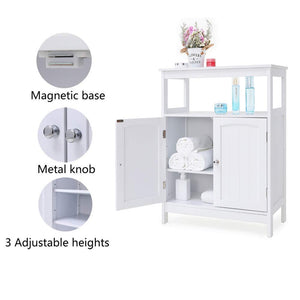 Results iwell bathroom floor storage cabinet with 1 adjustable shelf 3 heights available free standing kitchen cupboard wooden storage cabinet with 2 doors office furniture white ysg002b