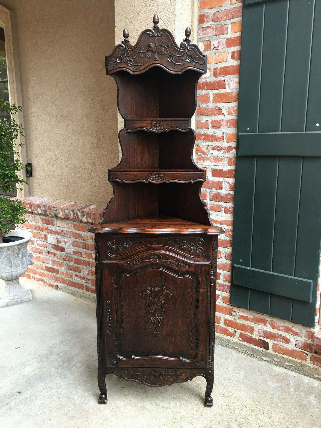 Antique French Country Carved Dark Oak CORNER CABINET Display Shelf Bookcase