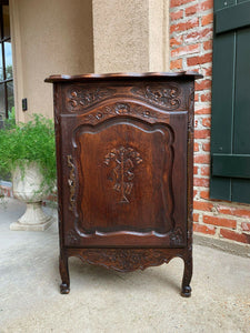Petite Antique French Carved Dark Oak CORNER CABINET Shelf Bookcase Louis XV