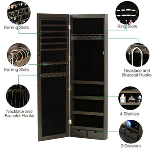 Top rated risar mirror jewelry cabinet wall door mounted jewelry armoire organizer with full length dressing mirror makeup jewelry storage brown