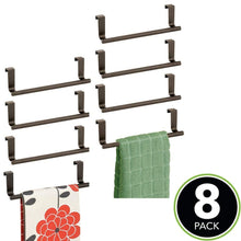 Load image into Gallery viewer, Organize with mdesign decorative metal kitchen over cabinet towel bar hang on inside or outside of doors storage and display rack for hand dish and tea towels 9 wide 8 pack bronze