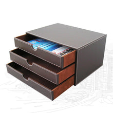 Load image into Gallery viewer, Top kingfom desk organizer set 9 pcs office supplies set file holder cabinet desk organizer drawer tissue box cover organizer box mouse pad desk pad notepaper holder ashtray and coasters sett04brown