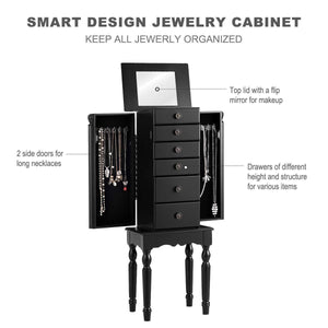 Shop giantex jewelry armoire chest cabinet storage box with top flip makeup mirror large standing organizer for bedroom 10 necklace hooks space saving side swing doors jewelry armoires w 5 drawers black