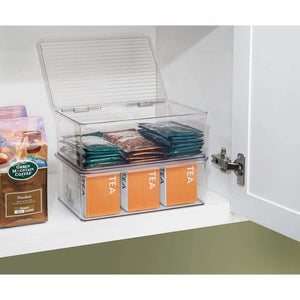 Discover the best mdesign stackable kitchen pantry cabinet or refrigerator storage bin with attached hinged lid compact storage organizer for coffee tea and food packets snacks bpa free pack of 2 clear