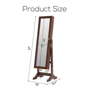 Top rated mecor jewelry armoire led standing mirrored jewelry cabinet organizer storage lockable full length mirror makeup box w 2 drawers 5 shelves 3 adjustable angle brown